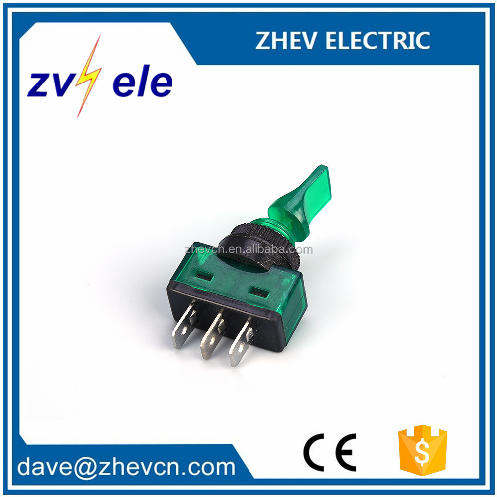 Green PC body ASW-14D illuminated 12v on-off 3pins with neon lamp car switch toggle switch