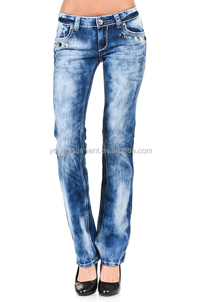 Women's Slim Fit Low Rise Straight Leg Denim Jeans wholesale brazilian jeans
