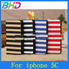 Luxury Wallet Leather Case for iphone 5c stripe Flip case