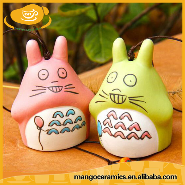 Home decoration pieces small totoro ceramic bells for sale