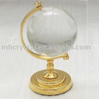 Solid Crystal World Globe with Metal Stand MH-0024H