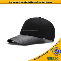 custom design leather brim wool crown baseball hat and cap men 6 panel sport winter hat blank cap high quality