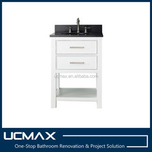 24'' Simple white bathroom vanity with black granite top