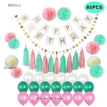 2017 Popular 8 Pieces Tissue Paper Pom Poms Balloons Paper Birthday Party Bunting Flag Banner Printing Happy Birthday Banner