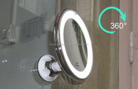 Magnifying lighted mirror suction cups, LED mirror battery operated for bathroom, lighted mirror bathroom