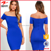 2016 New fashion dress women off-the-shoulder bodycon dress with short sleeves