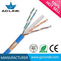 high quality lan cable 1000ft/box pure copper 23awg/0.56mm cat 6 plenum