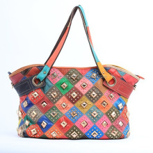 Worldwide Genuine Leather Ostrich Multi-color Patchwork Large Shopper Tote Handbag Multi for Women