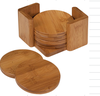 Fuboo Set pack of 6 round wood Bamboo drink cup coaster with case