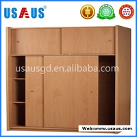 PVC wooden pattern Sliding door wardrobe with two drawers
