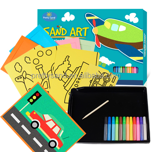 Art and craft supplies sand art pack with high quality sand art pictures and no-toxic colored sand good for kids craft activity