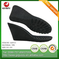 fashionable female casual loafers wedge tpr shoe sole