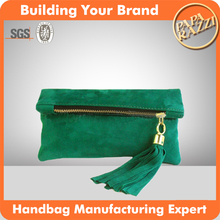 J052-latest order fashion suede leather clutch women handbag evening bag