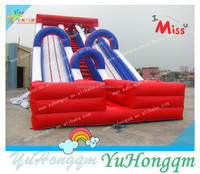 china outdoor durable pvc tarp big inflatable double dual lane slip slides for sale
