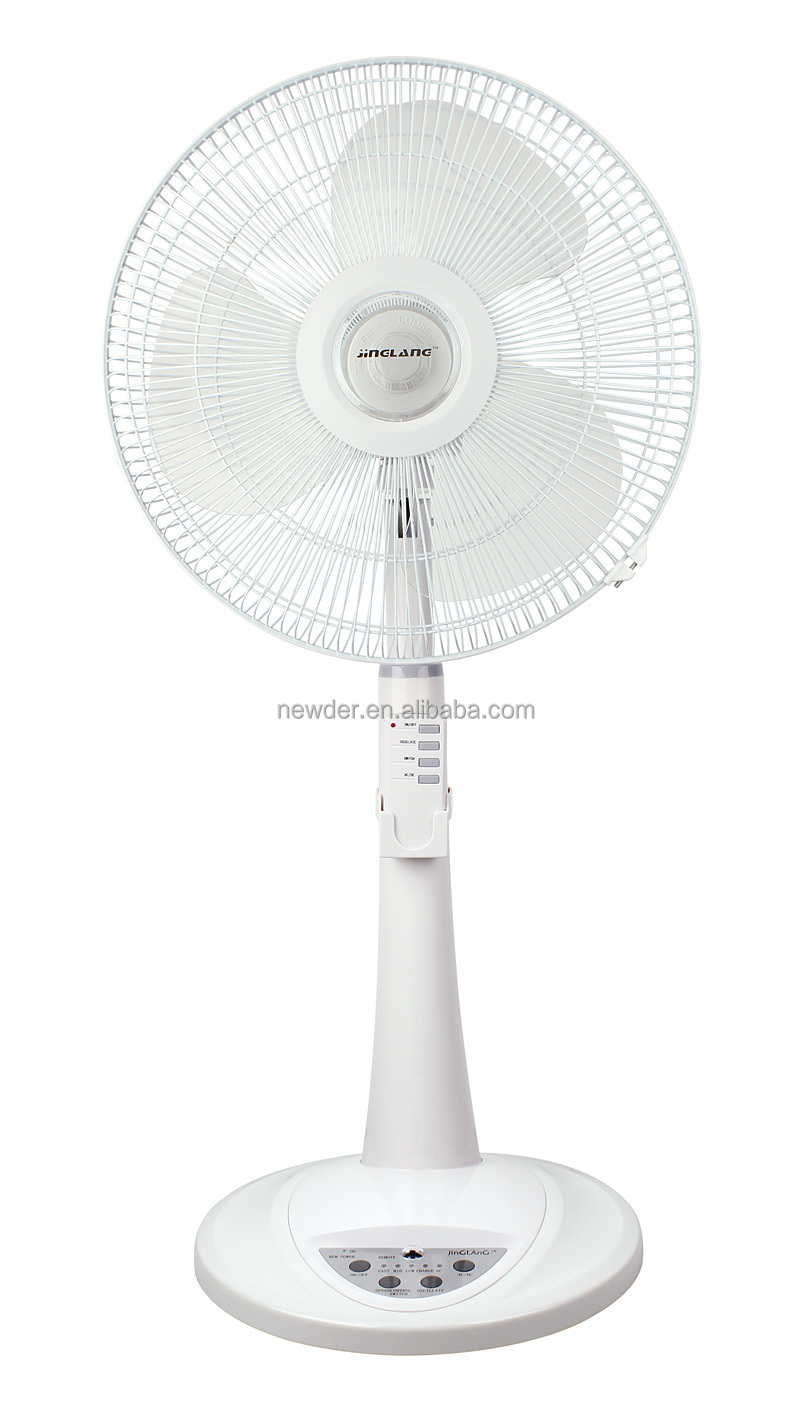 "16"" AC DC rechargeable pedestal standing fan with remote control"