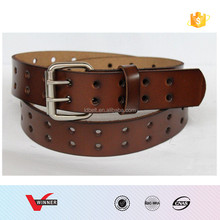 New Men 2 Double Holes Dress Casual Leather Belt 2 Prong Roller Removable Buckle