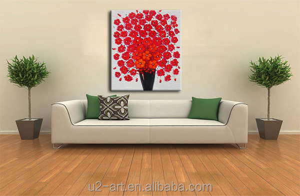 Lien canvas oil painting easy red flower art