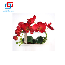 New Arrivals Red Butterfly Orchid Flower Artificial Bonsai With Vase