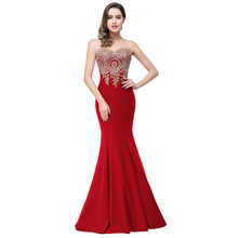 Wholesale Mermaid Evening Dress Long Prom Gown 2018 WIth Gold Applique Stylish Newest Formal Party Dress