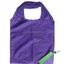 Customized cheap polyester handle portable foldable shopping bag with your logo for market