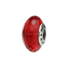 Wholesale Beauty Collection Facet Ruby Red Murano Glass Bead with Screw-on 925 Sterling Silver Tube For European Bracelet