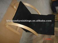 Black woveb wood frocking chair
