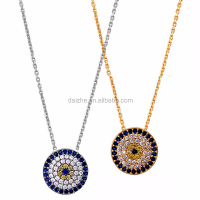 high quality 925 sterling silver 5 raw cubic zirconia disco sapphire dimoand evil eye pendant