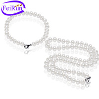 7mm button AAA necklace and bracelet pearl set necklace