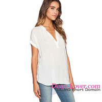 2016 New Casual Style Women White V Neck Short Sleeve Oversize Summer Chiffon Blouse