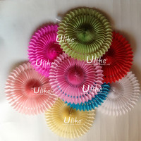 Popular Tissue Paper Fans Indian party decoration fan lantern club party decoration wedding souvenirs