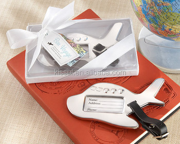 """Bon Voyage"" Silver-Finish Airplane Luggage Tag Wedding Gift"