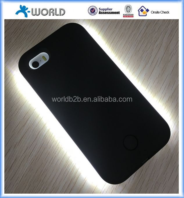 high quality phone case with led light & rechargeable battery light selfie phone case for iphone 5