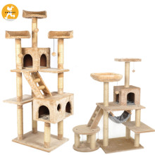 Wood Cat Tree House Natural