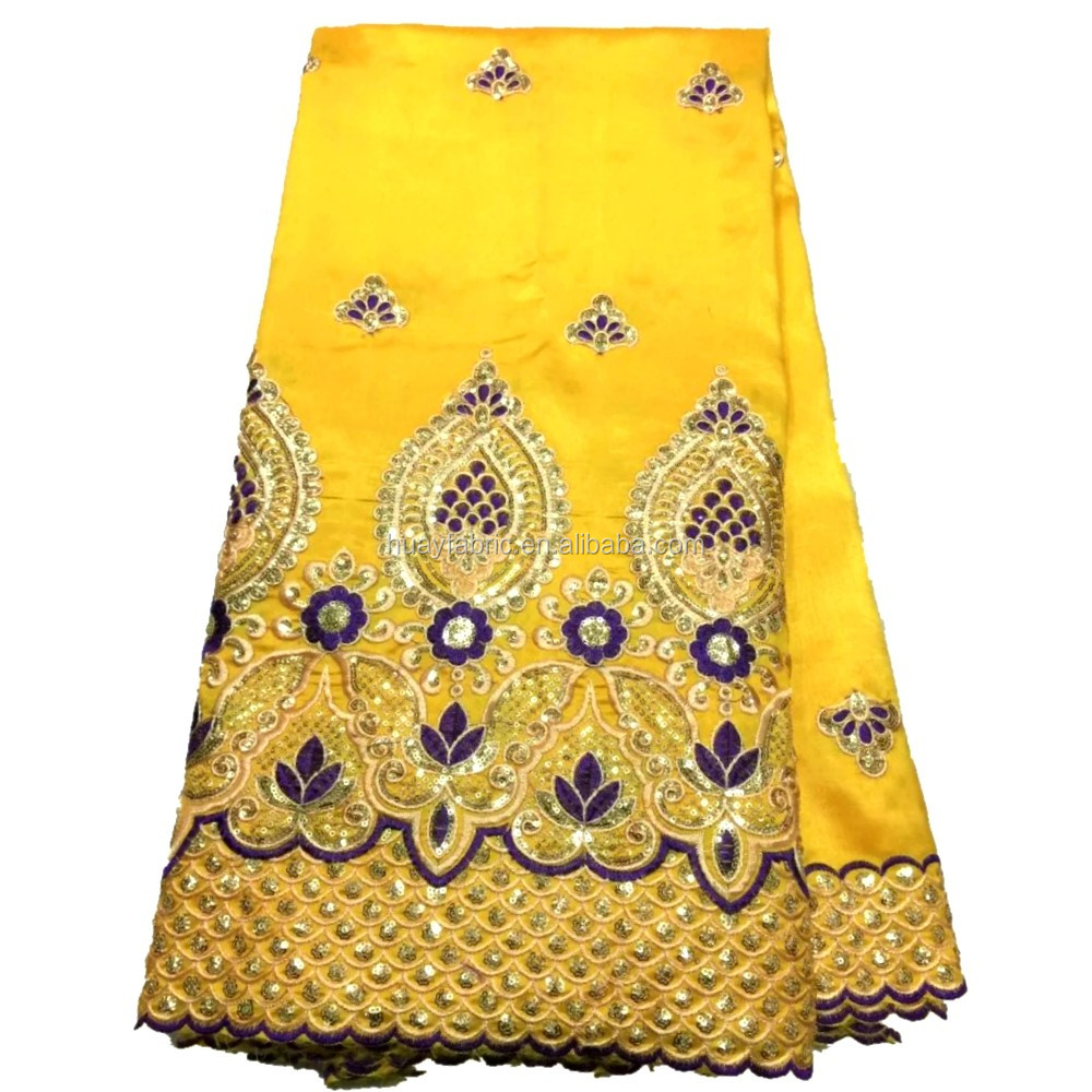Wholesale Cheap George Lace Fabric Yellow Color African George Fabric With Sequins Embroidered 2016 HY0393