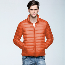 Men Women Basic Outer Hooded Lightweight Zipper Down Jacket