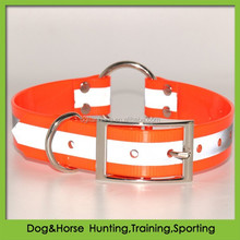 waterproof reflective TPU safety dog collars with a center O ring in blaze orange