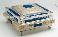 Precious gold and silver rectangular box hand made in Italy