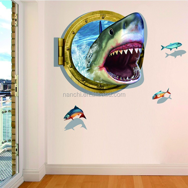 2016 Big Size Shark Planar 3D Decals Living Room Sofa Bedroom Bathroom PVC Environmental Protection Removable Wall Stickers