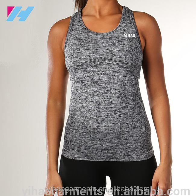 Seamless nylon polyester spandex sleeveless gym tank tops wholesale of womens apparel