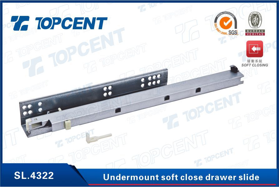 Zinc plated undermount push to open soft closing drawer slide