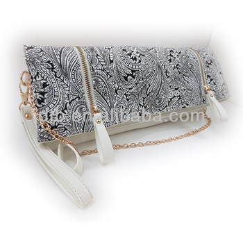 Women's Long Canvas Clutch Bag with Double Zipper on the Flap