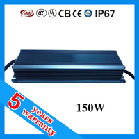 5 years warranty 150W 12V 24V 36V dc IP67 waterproof 36 24 12 volt 150 watt power supply with CE ROHS TUV SAA approved
