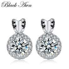 [BLACK AWN] Genuine 100% 925 Sterling Silver Jewelry Black&White Stone Wedding Stud Earrings for Women T093