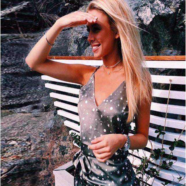 ZH1044E Summer fashion lady v neck star print strap short dress irregular bottom dress