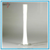 Wholesale tall square base white eiffel tower glass vase for flower