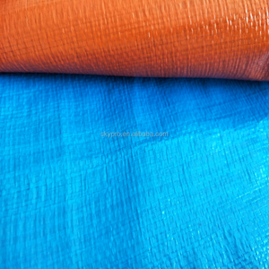 High density high tensible woven fabric laminated waterproof orange blue PE tarpaulin