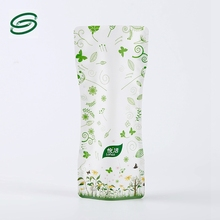customized printing stand up pouch green leaves tea bags for zipper top
