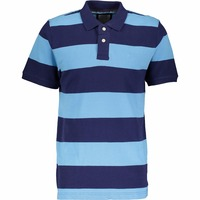 Custom Made Services Men Navy & Sky Blue Fitted Polo Shirt