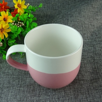 Wholesale 400ml Porcelain White Cute Mugs Cup Pink Ceramic Mug For Gifts