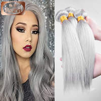 Indian Remy gray human hair Silky straight 12 14 16 18 virgin indian hair gray hair weave